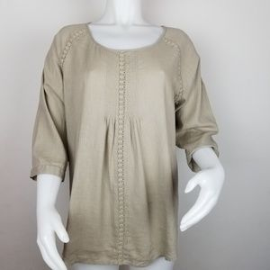 J Jill M Linen Blend Tunic With Lace Detail